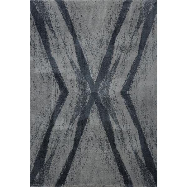 Tapis abstrait Jasper, 5,3' x 7,5', microfibre, gris