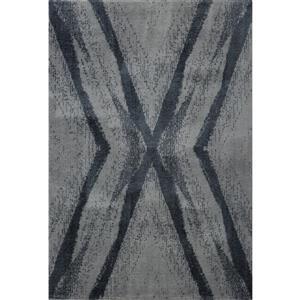 Tapis abstrait Jasper, 2,6' x 9,8', microfibre, gris