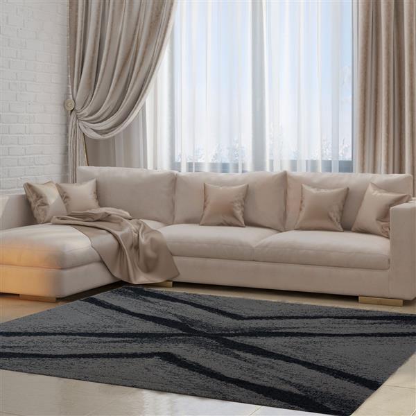 La Dole Rugs®  Jasper Abstract Area Rug - 2.6' x 4.9' - Microfibre - Gray