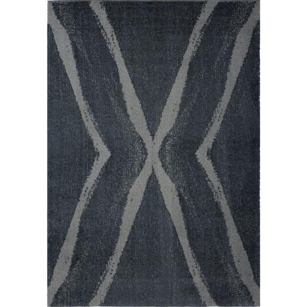 Tapis abstrait Vancouver, 2,6' x 9,8', microfibre, gris