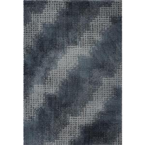 Tapis abstrait Coquitlam, 3,9' x 5,6', microfibre, gris