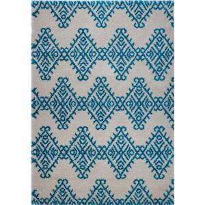La Dole Rugs®  Area Rug - 7.8' x 10.4' - Polypropylene - Turquoise/Ivory