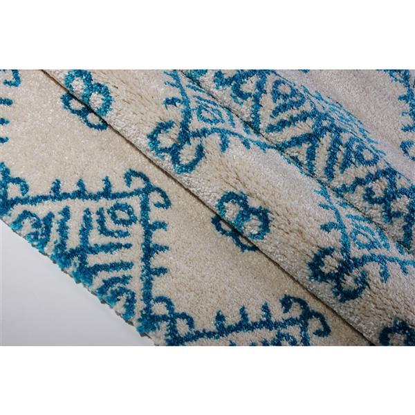 La Dole Rugs®  Area Rug - 5.3' x 7.5' - Polypropylene - Turquoise/Ivory