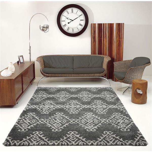 La Dole Rugs®  Geometric Rug - 7.8' x 10.4' - Polypropylene - Gray/Ivory