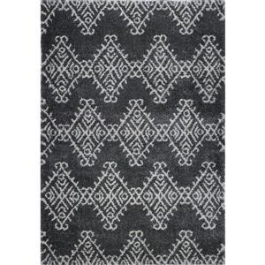 Tapis géométrique, 5,3' x 7,5', polypropylène, gris/ivoire