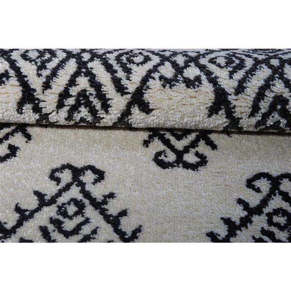 Tapis, 5,3' x 7,5', polypropylène, ivoire/gris foncé