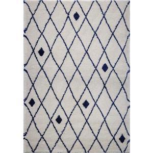 Tapis, 5,3' x 7,5', polypropylène, ivoire/bleu marin