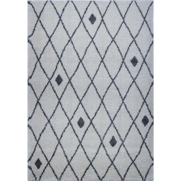 Tapis, 5,3' x 7,5', polypropylène, ivoire/gris pâle