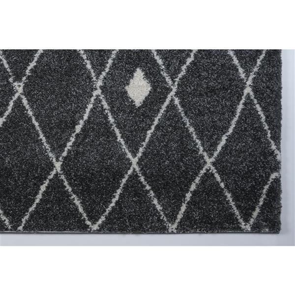 Tapis à treillis, 6,4' x 9,4', polypropylène, gris/ivoire