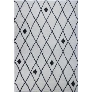 Tapis, 6,4' x 9,4', polypropylène, ivoire/gris foncé