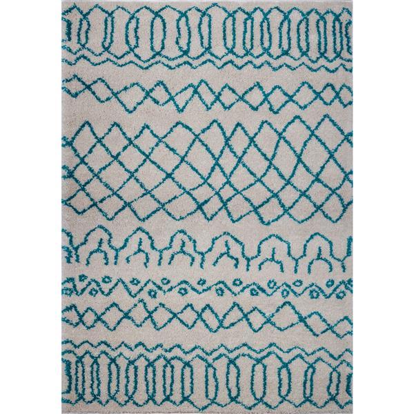 Tapis, 3,9' x 5,6', polypropylène, ivoire/turquoise