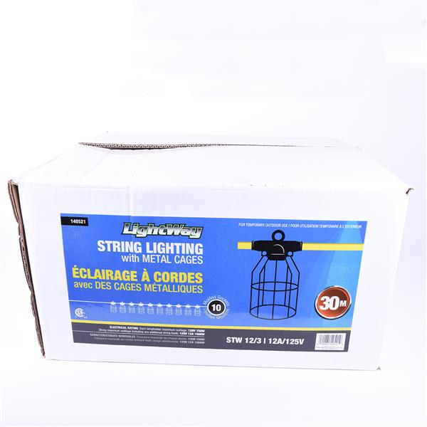 Toolway Temporary String Worklight STW 12/3 30m - 10 Metal Cages