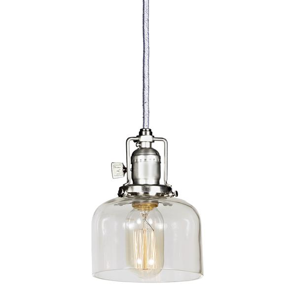 JVI Designs Shyra 1-Light Pendant - 5-in x 67.5-in - Satin Nickel