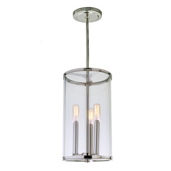JVI Designs Gramercy 3-Light Pendant - 8-in x 56.5-in - Polished Nickel