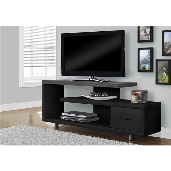 """Meuble télé avec dessus gris et 1 tiroir, noir, 60""""l"""