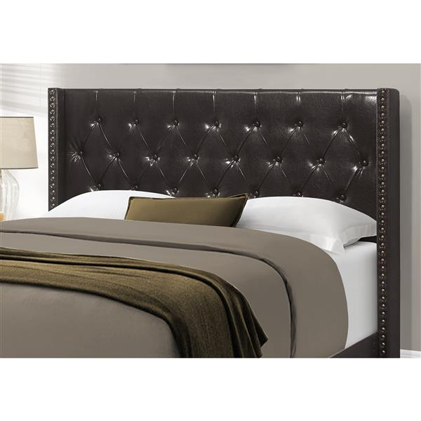Monarch Bed Brown Leather Look with Brass Trim - Queen Size