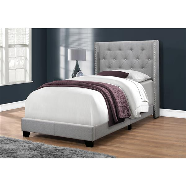 Monarch Bed Grey Linen with Chrome Trim - Twin Size