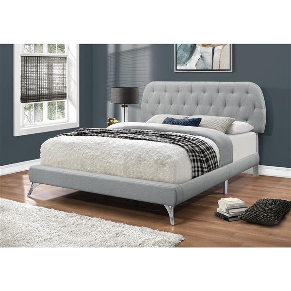 Monarch Bed Grey Linen with Chrome Legs - Queen Size