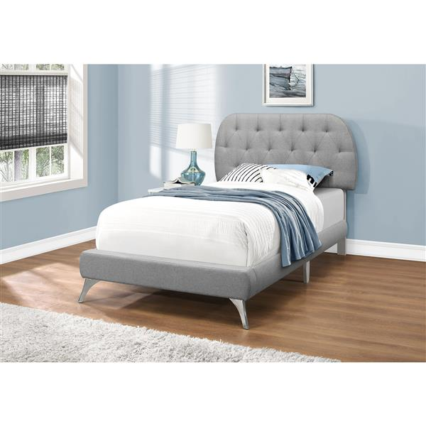Monarch Bed Grey Linen with Chrome Legs - Twin Size
