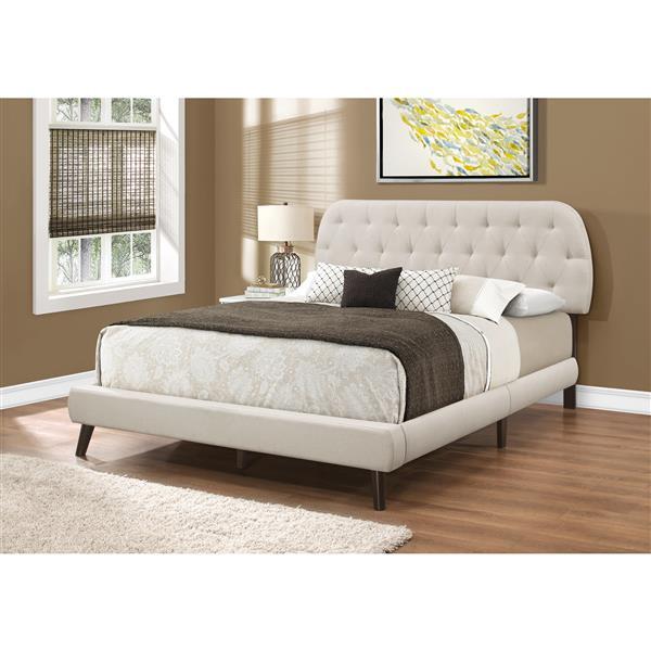 Monarch Bed Beige Linen with Brown Wood Legs - Queen Size