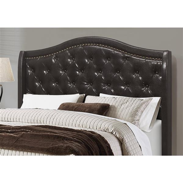 Monarch Bed Brown Leather with Brass Trim - Queen Size