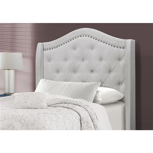 Lit velours gris pâle et bordure argent, simple (Twin)