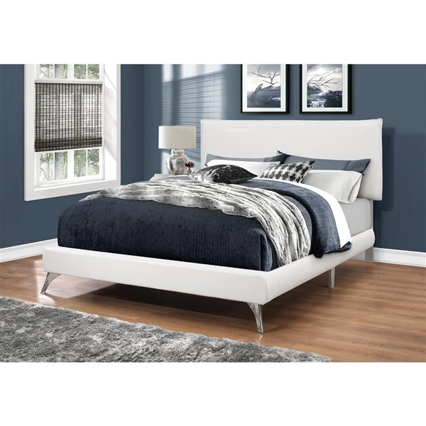 Monarch Bed White Leather Look with Chrome Legs - Queen Size