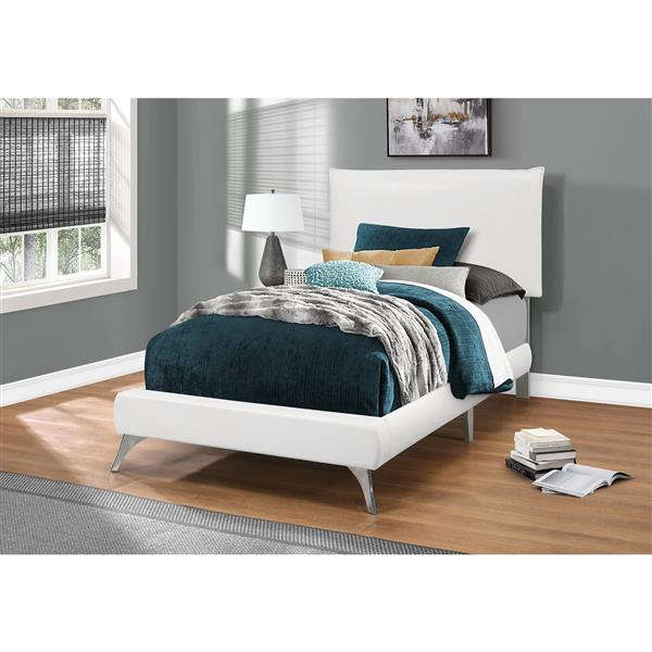 Monarch Bed White Leather Look with Chrome Legs - Twin Size