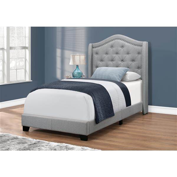 Monarch Bed Light Grey Velvet with Chrome Trim - Twin Size