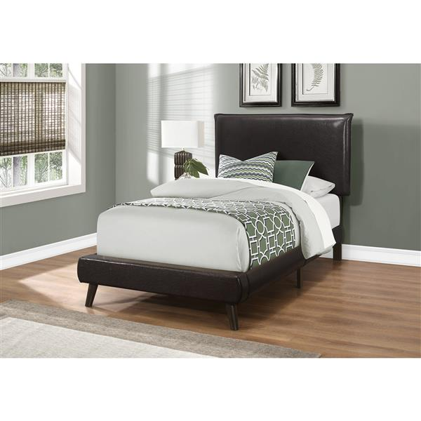 Monarch Bed Brown Leather Look with Wood Legs - Twin Size