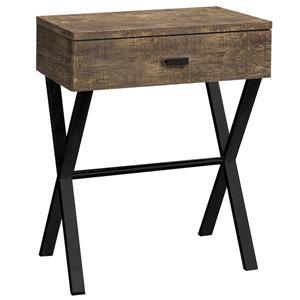 """Table d'appoint 24""""H  1 tiroir, faux bois brun et métal noir"""