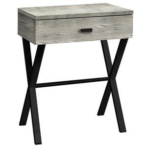 """Table d'appoint 24""""H  1 tiroir, faux bois gris et métal noir"""