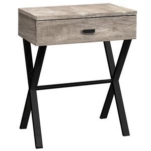 """Table d'appoint 24""""H  1 tiroir, faux bois taupe / métal noir"""