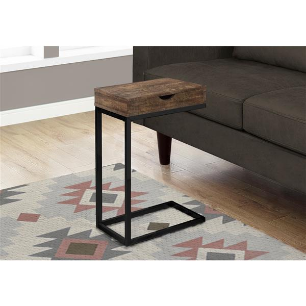 Monarch Accent Table with Drawer - Brown Reclaimed Wood /Black