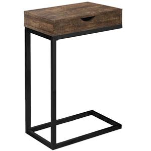 Table d'appoint avec tiroir,  base noire et faux bois brun