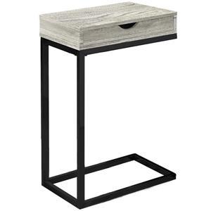 Table d'appoint avec tiroir,  base noire et faux bois gris