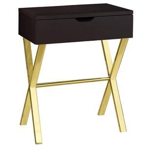 """Table D'appoint 24""""H à 1 tiroir, cappuccino et métal or"""