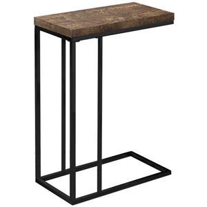 Table d'appoint, faux bois brun et métal noir