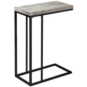 Table d'appoint, faux bois gris et métal noir
