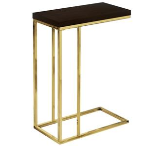 Table d'appoint, cappuccino et métal or