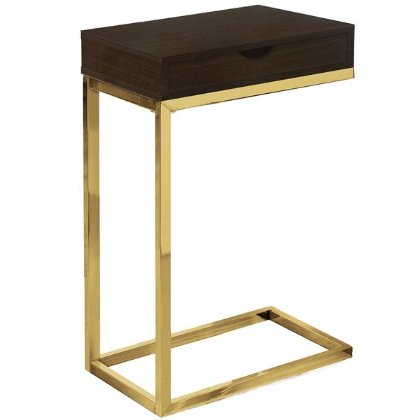 Monarch Accent Table with a Drawer - Cappuccino and Gold Metal