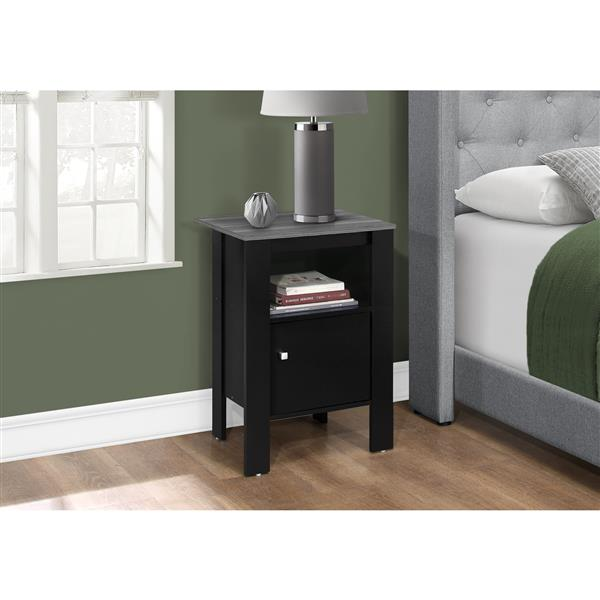 Monarch Accent Table or Night Stand with Storage - Black and Grey