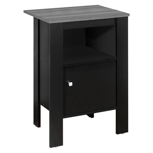 Table d'appoint ou table de nuit, noir avec dessus gris