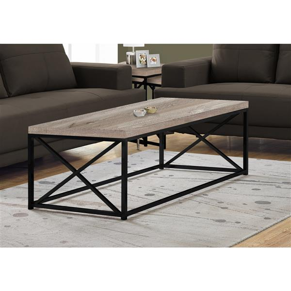 Monarch Coffee Table  - Taupe Reclaimed Wood and Black Metal - 44-in