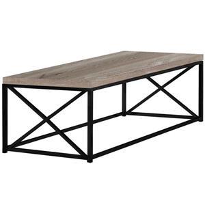 """Table de salon, Faux bois taupe et métal noir, 44"""""""