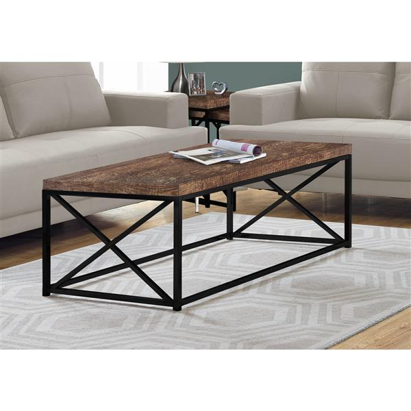 Monarch Coffee Table  - Brown Reclaimed Wood and Black Metal - 44-in