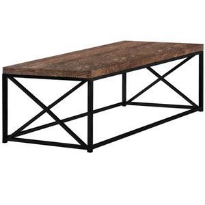 """Table de salon, Faux bois brun et métal noir, 44"""""""