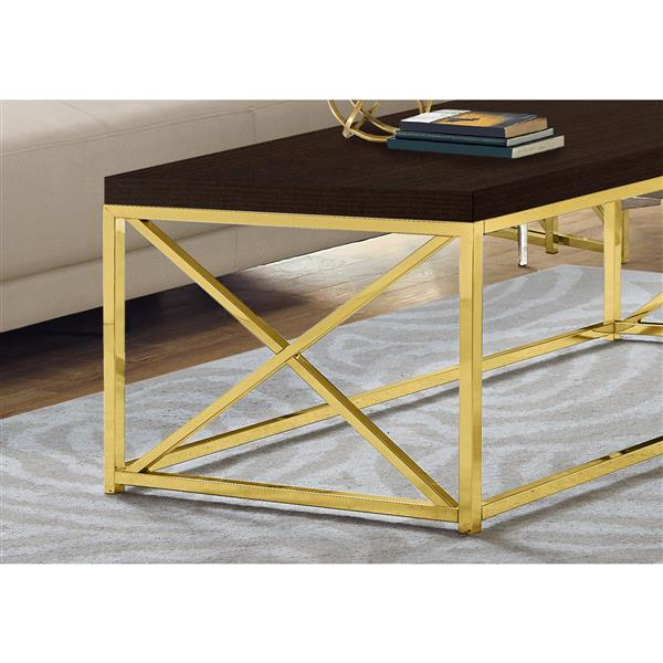 Monarch Coffee Table  - Cappuccino Reclaimed Wood / Gold Metal - 44-in