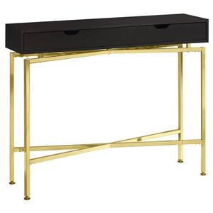 Table d'appoint console, cappuccino et or,  42