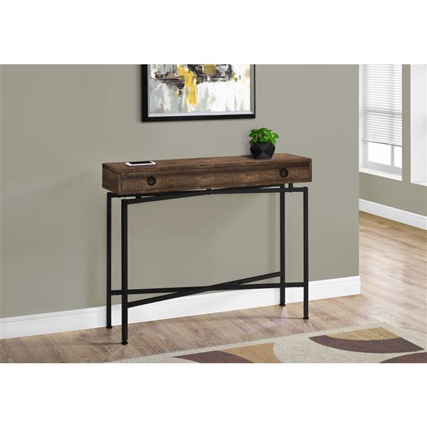 Monarch Accent Table - Console Brown Reclaimed Wood and Black 42-in